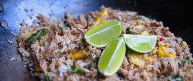Fried Rice with Duck, Pineapple & Mint Recipe