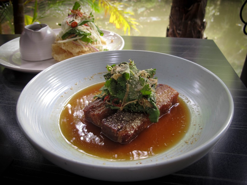 Spirit House Restaurant Yandina Pork Belly and crispy Fish