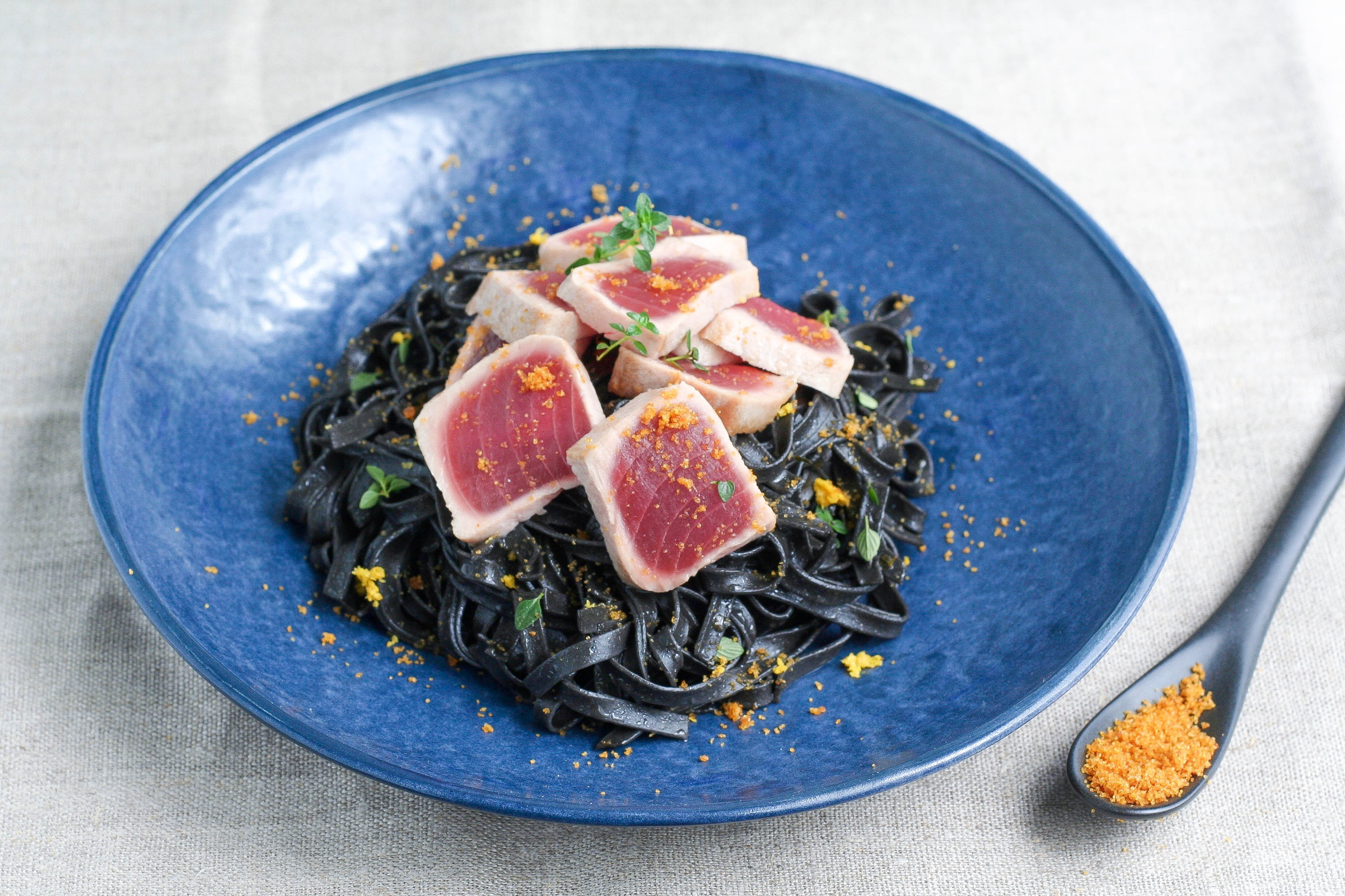 Squid Ink Linguine with Tuna, Lemon and Bottarga