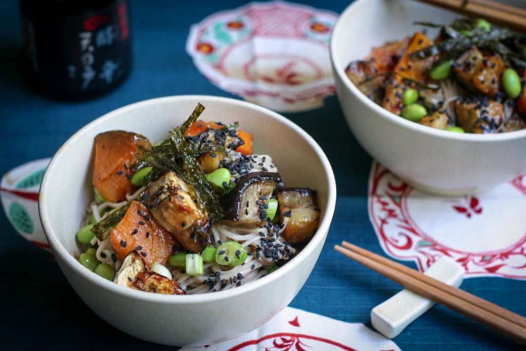 Miso Roasted Eggplant, Pumpkin and Soba Salad Recipe