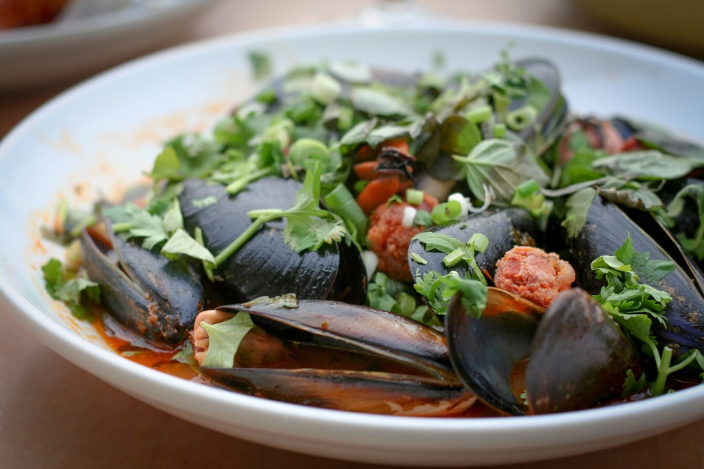 Steamed Mussels with Chorizo