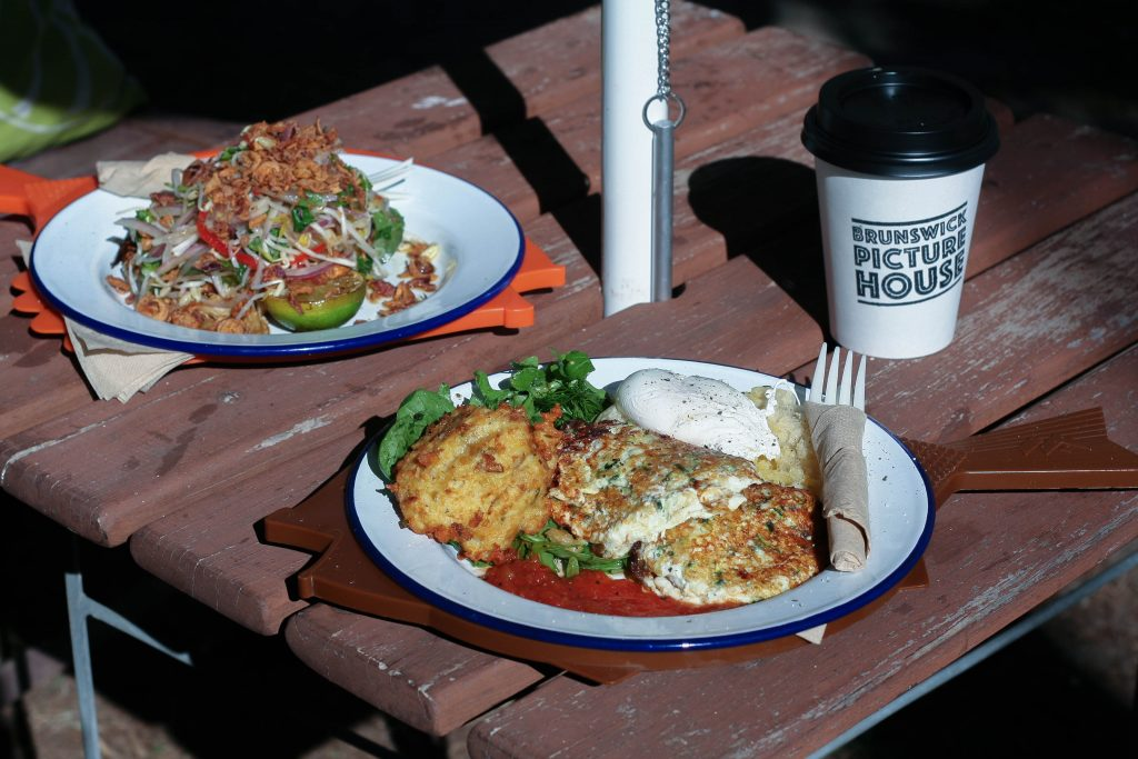 Brunswick Picture House Haloumi and Zucchini Fritters and Nomelette in Brunswick Heads