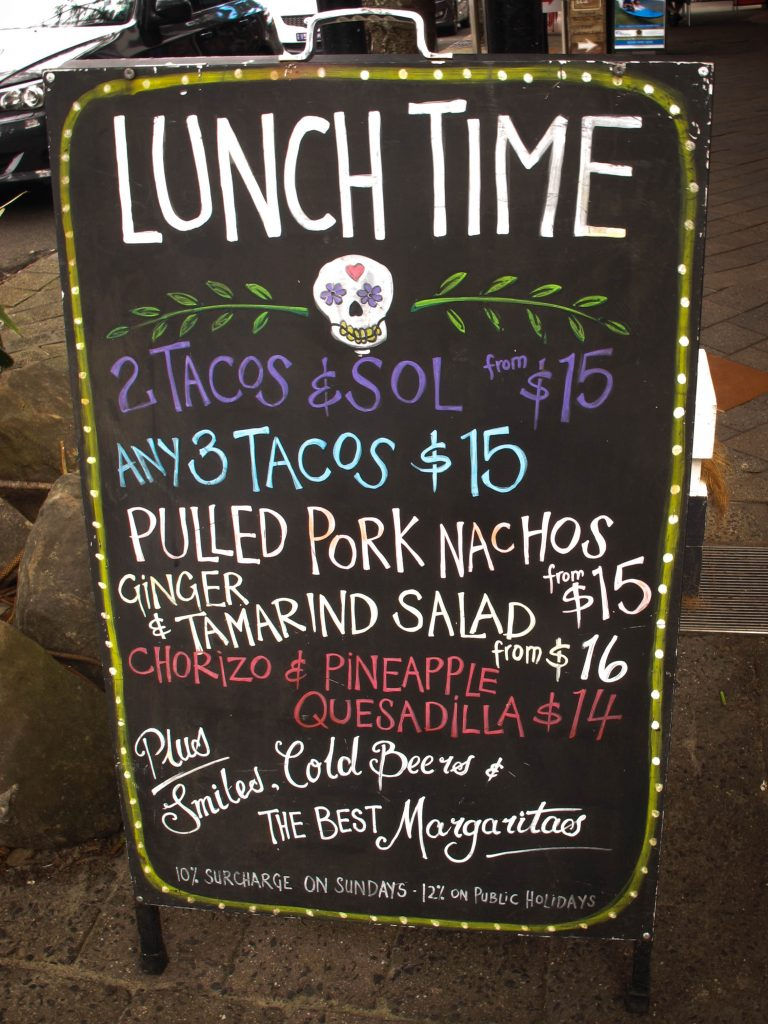 Lunchtime specials at Miss Margarita Byron Bay