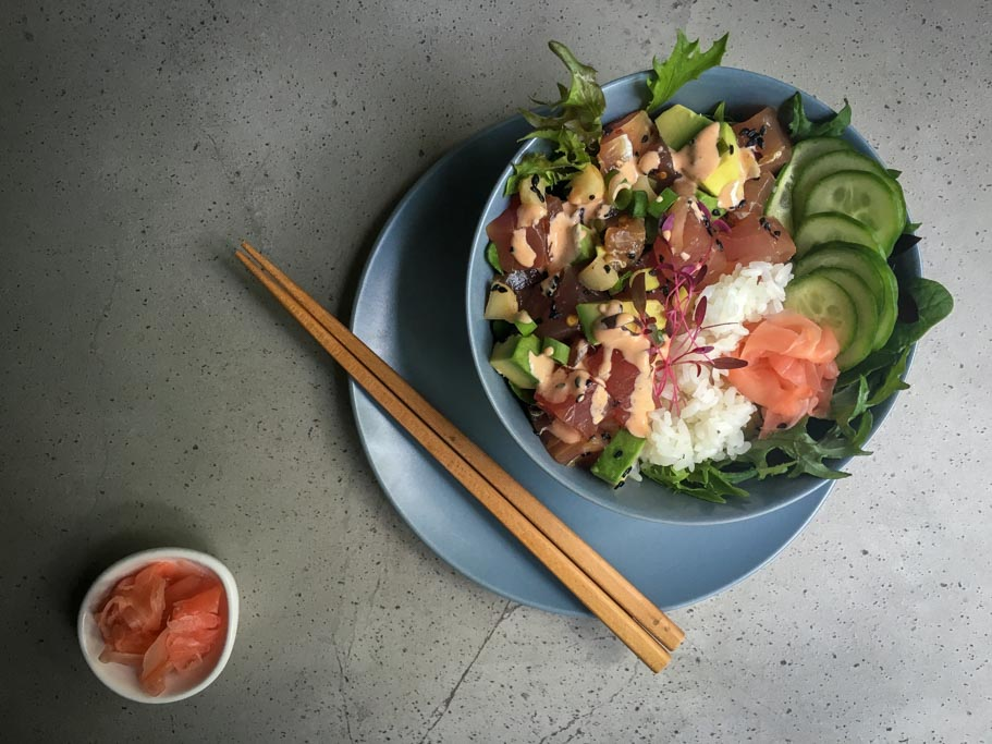 Poké Bowl with Chopsticks