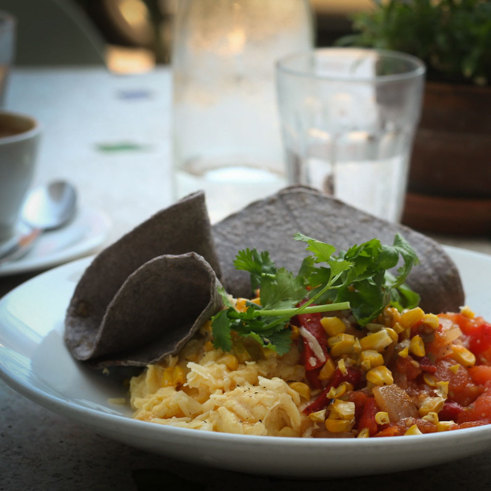 Scrambled Eggs with Toasted Corn - Town Café - Byron Bay Breakfasts