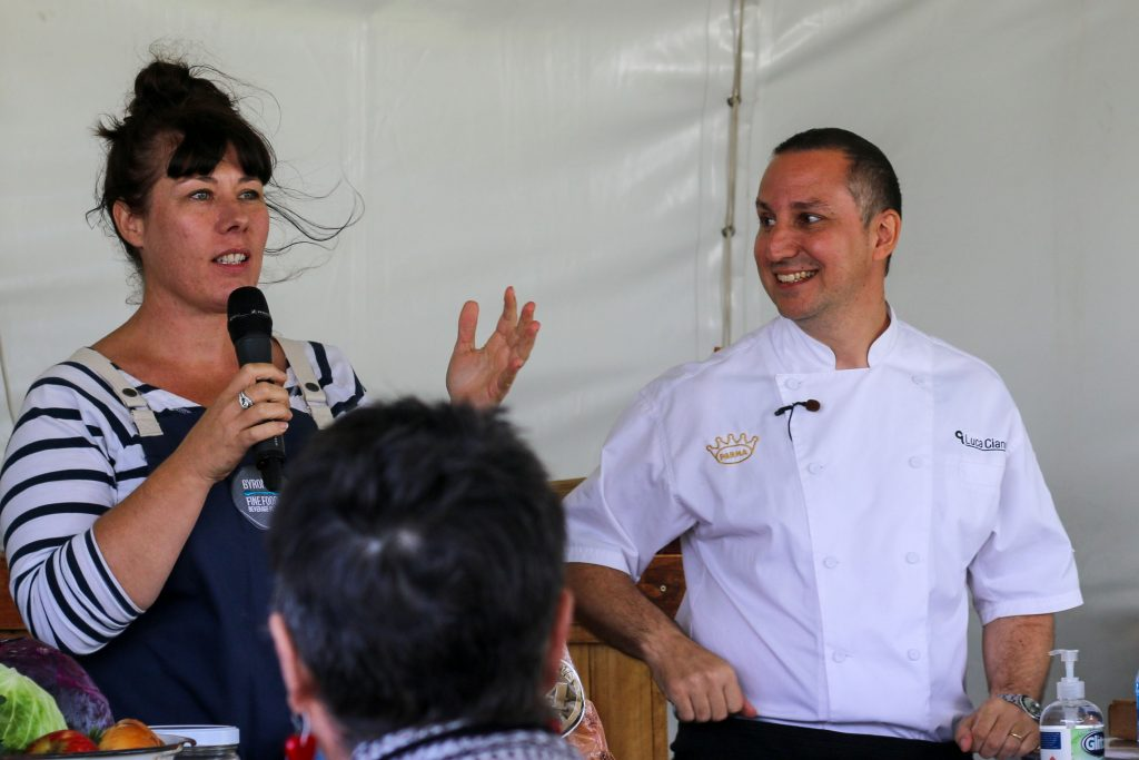 Kate Walsh & Luca Ciano in the Fine Food Masterclass Marquee