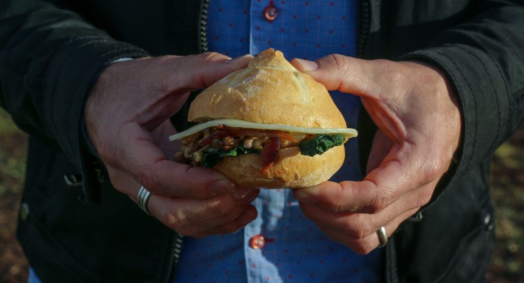 Slow Cooked Pork Belly Panino with Kale, Provolone, Chilli and Lemon Mayo by Luca Ciano