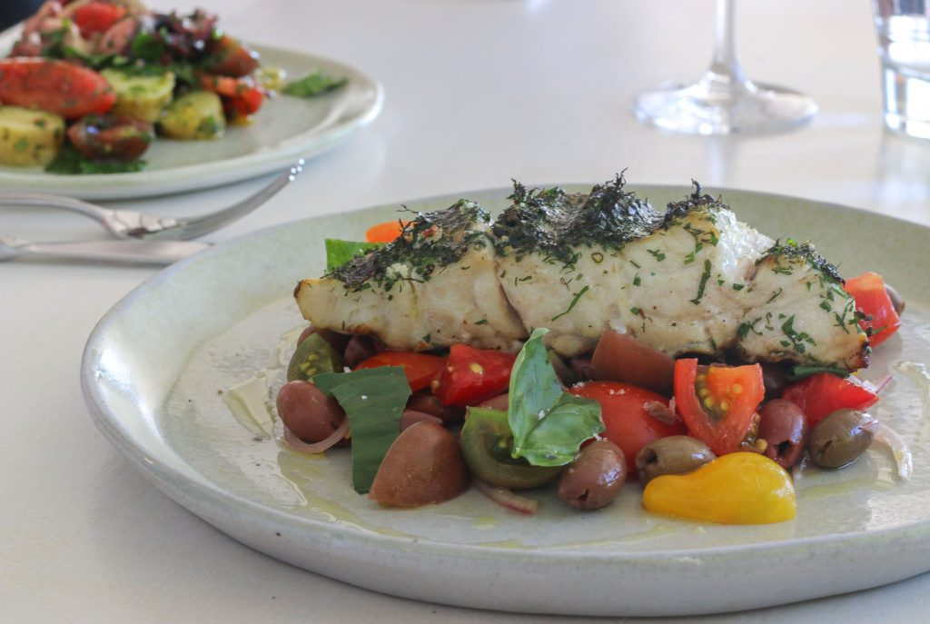 Beach Byron Bay Fillet of local fish, Sicilian tomato salad