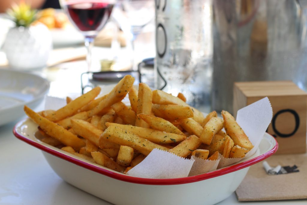 Shoestring fries with rosemary salt and aioli