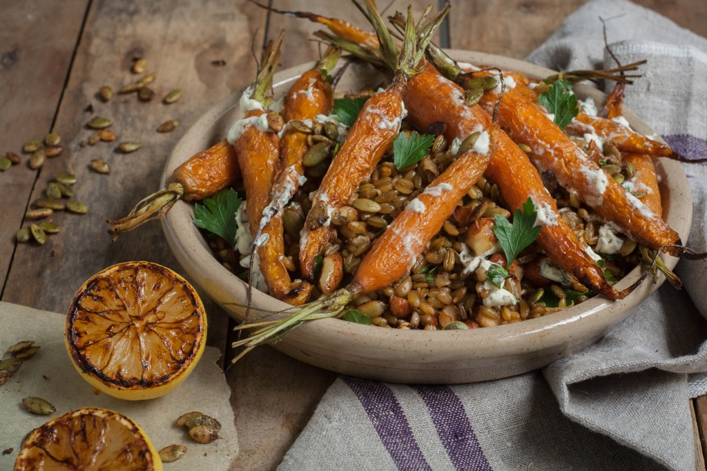 Cumin Roasted Carrot and Farro Pilaf with Herbed Dressing Recipe
