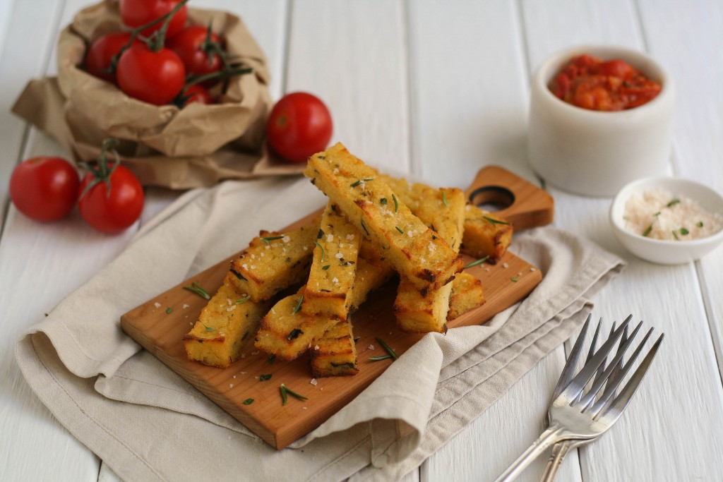 Polenta Chips with Chunky Tomato Sauce Recipe