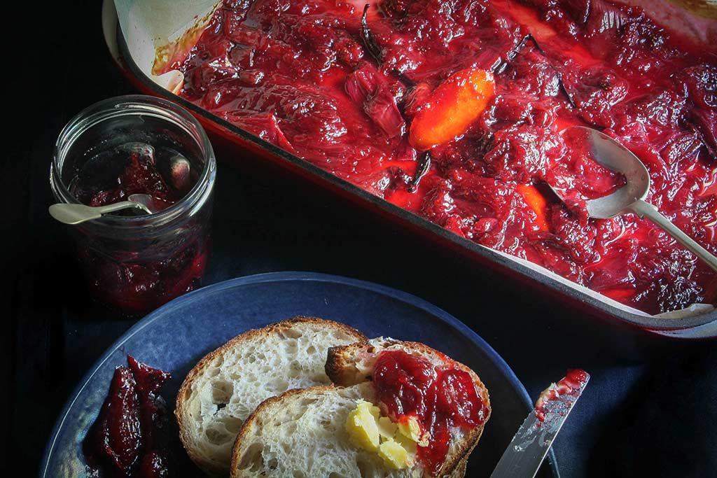 Roasted Rhubarb and Strawberry Jam