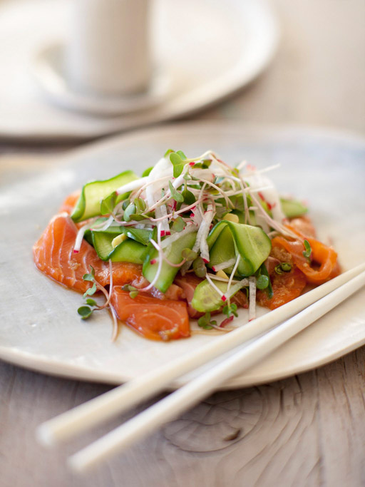 Japanese-Style Marinated Salmon Salad, Pickled Cucumber and Radish Salad