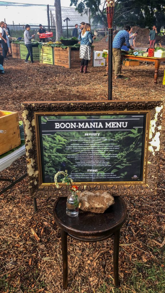 The Boon Mania menu