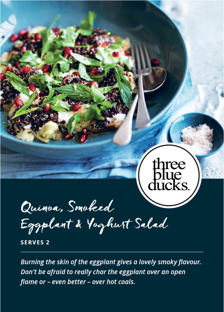 Quinoa, Smoked Eggplant and Yoghurt Salad Recipe Card Front
