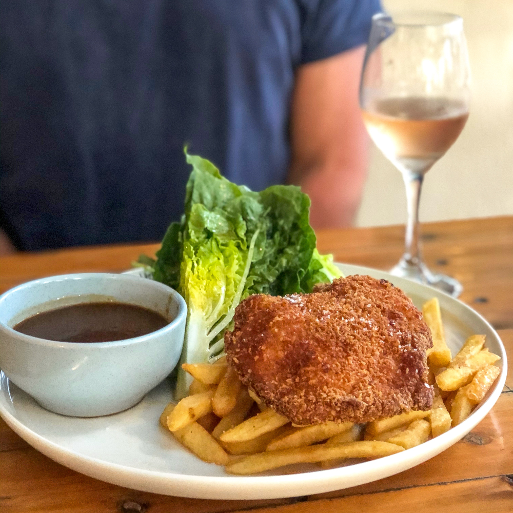 Chicken Schnitte and chips on a plate