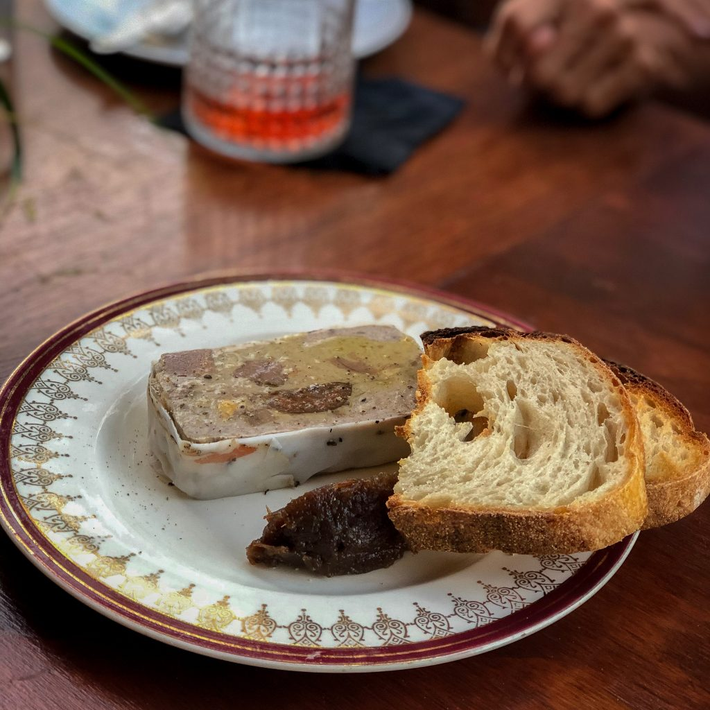 Plate of terrine with sourdough